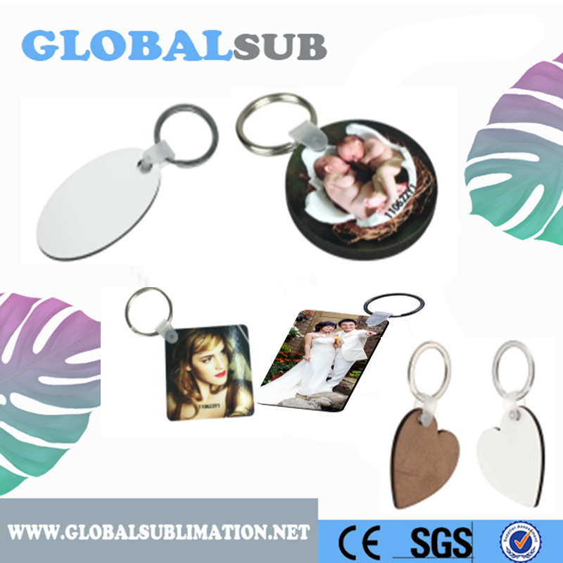 Oval/Round/Square/Heart MDF Sublimation Blanks Key Chain