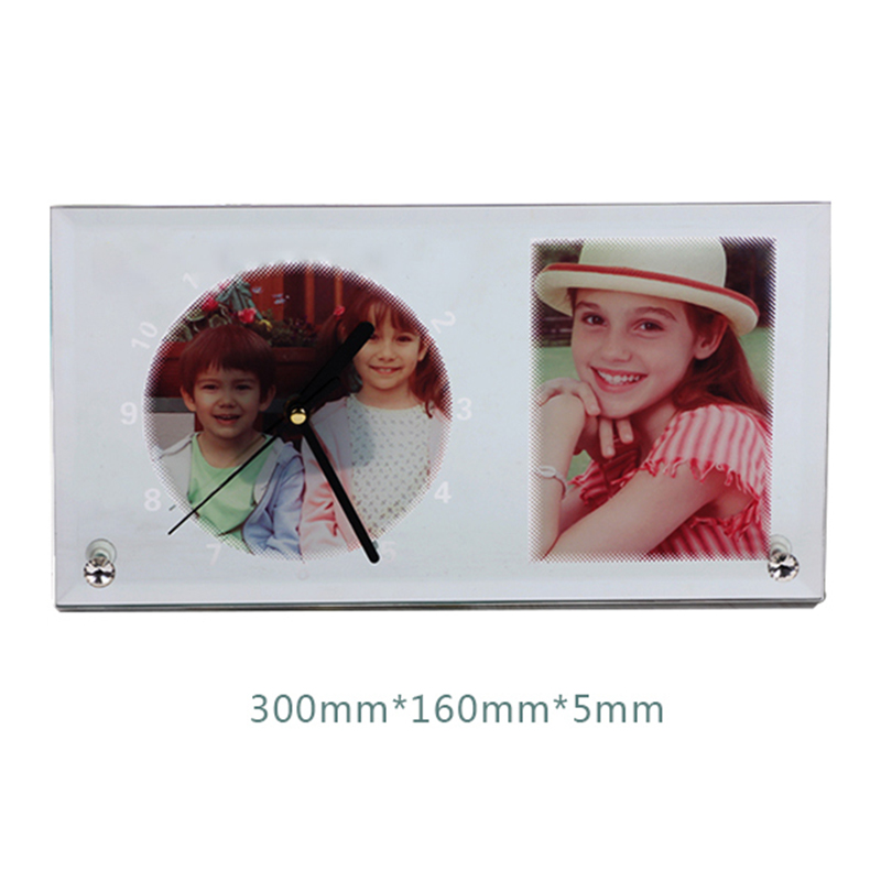 High quality blank sublimation glass photo frame with clock