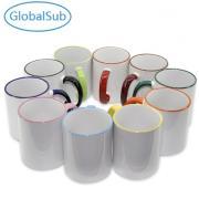 11oz Sublimation Ceramic handle Color Rim Mug
