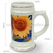 22oz Ceramic Beer Mug  (Golden rim)