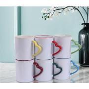 11oz Sublimation Ceramic heart handle rim color mug