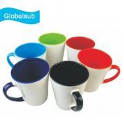 12oz Color Inner Handle Cone Shape Ceramic Sublimation Mug